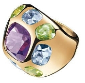 CHANEL BAROQUE RING 18K YELLOW GOLD AMETHYST PERIDOT