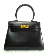 HERMES MINI KELLY BAG BLACK BOX CALF